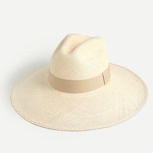 J crew wide brim Panama hat natural straw m/l